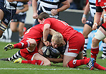 David Seymour of Sale Sharks is topped just short of the try line by Andrew Smith and Denis Hurley of Munster - European Rugby Champions Cup - Sale Sharks vs Munster -  AJ Bell Stadium - Salford- England - 18th October 2014  - Picture Simon Bellis/Sportimage