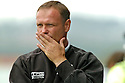 16/09/2006        Copyright Pic: James Stewart.File Name : sct_jspa17_falkirk_v_aberdeen.FALKIRK MANAGER JOHN HUGHES CAN'T BEAR TO WATCH HIS TEAM GET BEAT AGAIN.....Payments to :.James Stewart Photo Agency 19 Carronlea Drive, Falkirk. FK2 8DN      Vat Reg No. 607 6932 25.Office     : +44 (0)1324 570906     .Mobile   : +44 (0)7721 416997.Fax         : +44 (0)1324 570906.E-mail  :  jim@jspa.co.uk.If you require further information then contact Jim Stewart on any of the numbers above.........