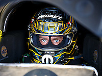 Oct 16, 2016; Ennis, TX, USA; NHRA funny car driver Matt Hagan during the Fall Nationals at Texas Motorplex. Mandatory Credit: Mark J. Rebilas-USA TODAY Sports