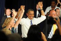 WEST PALM BEACH, FL - JULY 19:  (L-R) U.S. Representative Debbie Wasserman Schultz, U.S. President Barack Obama and U.S. Congressman Ted Deutch attend as U.S. President Barack Obama delivers remarks to seniors at Century Village on July 19, 2012 in West Palm Beach, Florida. ©mpi04/MediaPunch Inc. /*NORTEPHOTO.com*<br /> **SOLO*VENTA*EN*MEXICO**<br />  **CREDITO*OBLIGATORIO** *No*Venta*A*Terceros*<br /> *No*Sale*So*third* ***No*Se*Permite*Hacer Archivo***No*Sale*So*third*©Imagenes*con derechos*de*autor©todos*reservados*