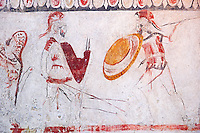 Lucanian fresco tomb painting of two soldiers in armour fighting. Paestrum, Andriuolo. Tomb 86 (330-320 BC )