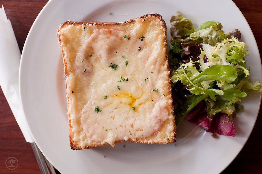Croque-monseiur sandwich at a French cafe.