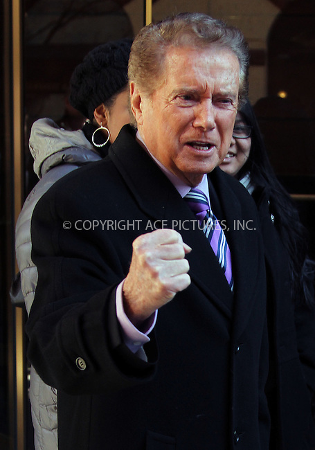 WWW.ACEPIXS.COM . . . . .  ....January 30 2012, New York City....TV personality Regis Philbin leaves his Manhattan apartment on January 30 2012 in New York City....Please byline: Zelig Shaul - ACE PICTURES.... *** ***..Ace Pictures, Inc:  ..Philip Vaughan (212) 243-8787 or (646) 769 0430..e-mail: info@acepixs.com..web: http://www.acepixs.com