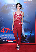 "12 June 2017 - Westwood, California - Ruby Modine. ""47 Meters Down"" Los Angeles Premiere held at Regency Village Theatre in Westwood. Photo Credit: Birdie Thompson/AdMedia"