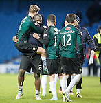 Christian Nade celebrates with his team mates after the match
