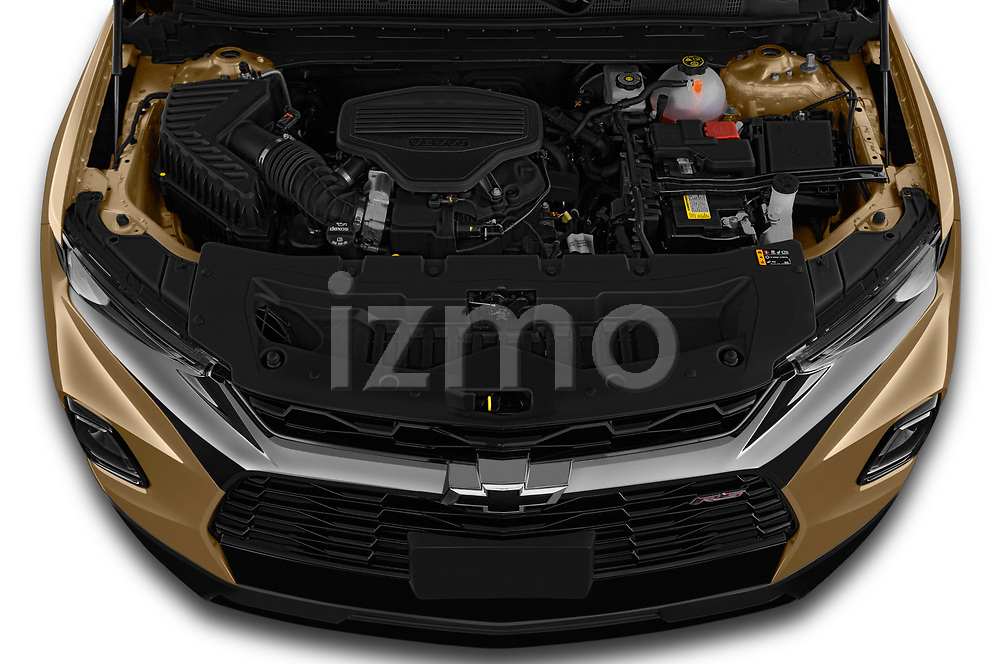 Car Stock 2019 Chevrolet Blazer RS 5 Door SUV Engine  high angle detail view