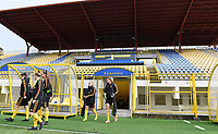 20191107 - Zapresic , BELGIUM : Belgian players with Janice Cayman and Justine Vanhaevermaet pictured entering the pitch during a Matchday -1 training session before a  female soccer game between the womensoccer teams of  Croatia and the Belgian Red Flames , the third women football game for Belgium in the qualification for the European Championship round in group H for England 2021, Thursday 7 th october 2019 at the NK Inter Zapresic stadium near Zagreb , Croatia .  PHOTO SPORTPIX.BE | DAVID CATRY