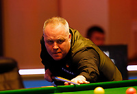 25th February 2020; Waterfront, Southport, Merseyside, England; World Snooker Championship, Coral Players Championship; John Higgins (SCO) at the table during his first round match against Graeme Dott (SCO)