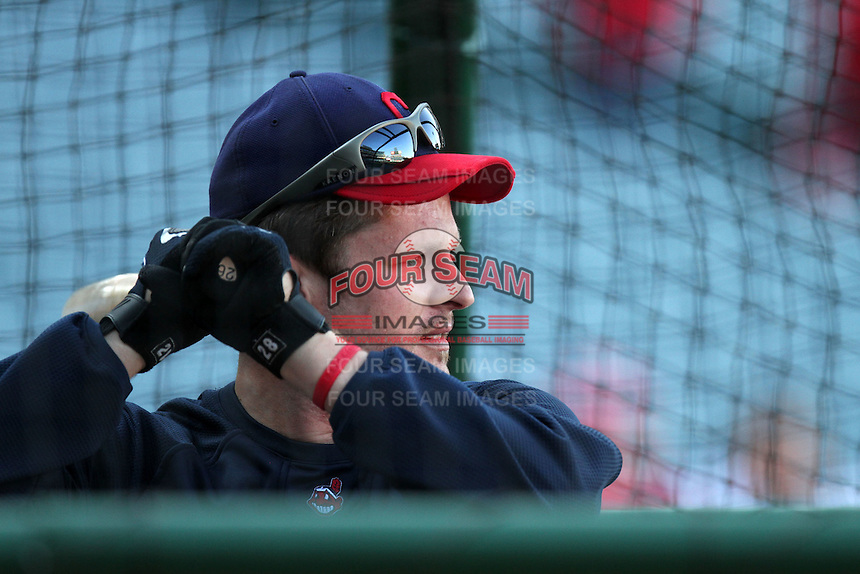 Austin Kearns #26 of the Cleveland Indians during batting practice  before game against the Los Angeles Angels at Angel Stadium in Anaheim,California on April 11, 2011. Photo by Larry Goren/Four Seam Images