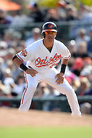 Baltimore Orioles outfielder Quintin Berry (34) during a spring training game against the Philadelphia Phillies on March 7, 2014 at Ed Smith Stadium in Sarasota, Florida.  Baltimore defeated Philadelphia 15-4.  (Mike Janes/Four Seam Images)