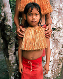 PERU, Amazon Rainforest, South America, Latin America, portrait of a Yagua Indian girl in traditional clothing