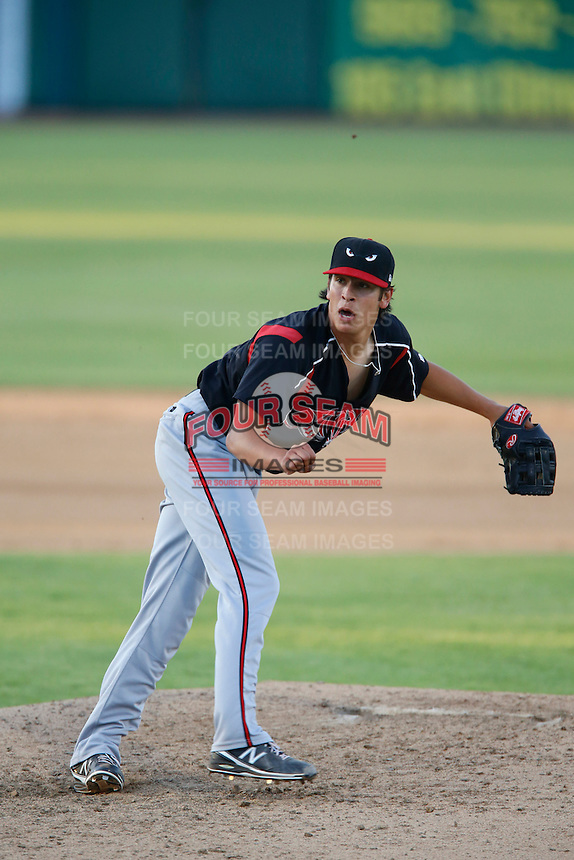 Cody Hebner #2 of the Lake Elsinore Storm pitches against the Inland Empire 66'ers at San Manuel Stadium on June 23, 2013 in San Bernardino, California. Lake Elsinore defeated Inland Empire, 6-2. (Larry Goren/Four Seam Images)