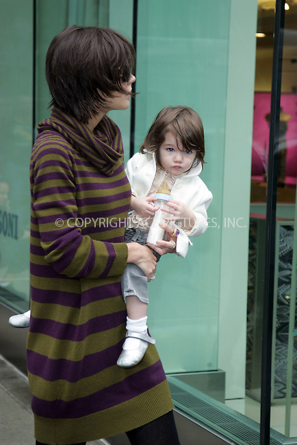 WWW.ACEPIXS.COM . . . . . ....October 19 2007, New York City....Actress Katie Holmes took her daughter Suri for a walk near her Upper East Side hotel.....Please byline: DAVID MURPHY - ACEPIXS.COM.. . . . . . ..Ace Pictures, Inc:  ..(646) 769 0430..e-mail: info@acepixs.com..web: http://www.acepixs.com