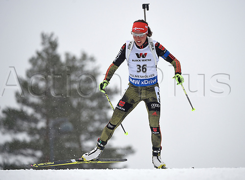 09.03.2016. Holmenkollen, Oslo, Norway. IBU Biathlon World Cup.  Laura Dahlmeier of Germany in action during the Women 15km Individual competition at the Biathlon World Championships, in the Holmenkollen Ski Arena, Oslo, Norway, 09 March 2016.