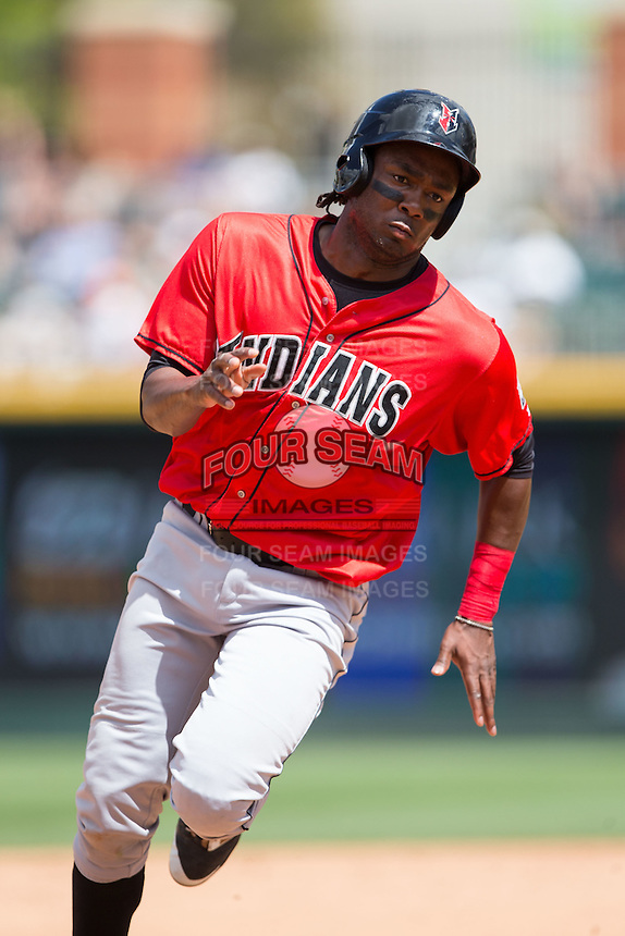 Josh Bell (18) of the Indianapolis Indians hustles towards third base against the Charlotte Knights at BB&T BallPark on June 19, 2016 in Charlotte, North Carolina.  The Indians defeated the Knights 6-3.  (Brian Westerholt/Four Seam Images)
