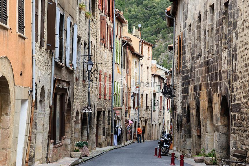 France, Pyr&eacute;n&eacute;es-Orientales (66), Parc Naturel R&eacute;gional des Pyr&eacute;n&eacute;es Catalanes, Villefranche-de-Conflent, labellis&eacute; Les Plus Beaux Villages de France, la rue Saint-Jean // France, Pyrenees Orientales, Villefranche de Conflent, labelled Les Plus Beaux Villages de France (The Most beautiful<br /> Villages of France)