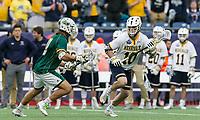 Foxborough, Massachusetts - May 27, 2018: NCAA Division II tournament final. Merrimack College (white/blue) defeated Saint Leo University (green/white), 23-6, at Gillette Stadium.
