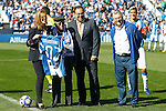 CD Leganes tribute to his oldest supporter, Salustiano Toribio (2l), 102 years old, in presence of CD Leganes' President Maria Victoria Pavon (l) and Leganes City Mayor Santiago Llorente (2r) during La Liga match. October 15,2016. (ALTERPHOTOS/Acero)