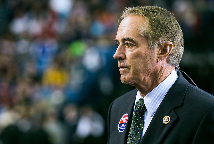 UNITED STATES - APRIL 18 - Rep. Chris Collins, R-N.Y., prepares for a television interview before Republican presidential candidate Donald Trump speaks at a campaign rally at the First Niagara Center, in Buffalo, N.Y., Monday, April 19, 2016. Collins was the first congressional endorsement for Trump. (Photo By Al Drago/CQ Roll Call)