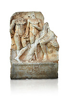Roman Sebasteion relief  sculpture of  Three Heroes and a Dog Aphrodisias Museum, Aphrodisias, Turkey.    Against a white background.<br /> <br /> Two heroes stand in front of a third hero who ia seated on a rock and pats the head of a bitch hound. They are hunters and the relief is partnered by the reliefs of Melager and Atalante and Meleaner and boar