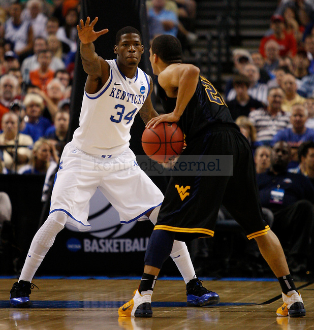 DeAndre Liggins guards Joe Mazzulla in UK's second game of the 2011 NCAA Basketball Tournament, at the St. Pete Times Forum, in Tampa, Fl.  Photo by Latara Appleby | Staff