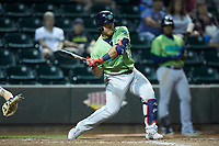 Li-Jen Chu (27) of the Lynchburg Hillcats at bat against the Winston-Salem Dash at BB&T Ballpark on May 1, 2018 in Winston-Salem, North Carolina. The Dash defeated the Hillcats 9-0. (Brian Westerholt/Four Seam Images)