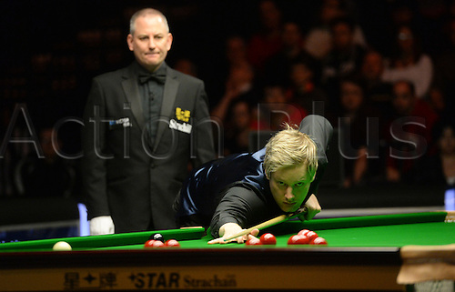 19.02.2016. Cardiff Arena, Cardiff, Wales. Bet Victor Welsh Open Snooker. Neil Robertson versus Ding Junhui. Neil Robertson at the table.