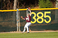 Cole Rakar #12 of the College of Charleston Cougars makes a catch in deep center field against the Davidson Wildcats at Wilson Field on March 12, 2011 in Davidson, North Carolina.  The Wildcats defeated the Cougars 8-3.  Photo by Brian Westerholt / Four Seam Images