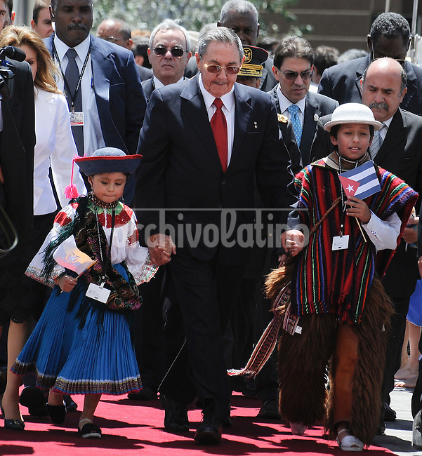 Cuba's President Raul Castro arrives to the National Assembly in Quito to attend  the UNASUR Presidential Meeting after the swear in ceremony of Ecuador's President Rafael Correa second term.