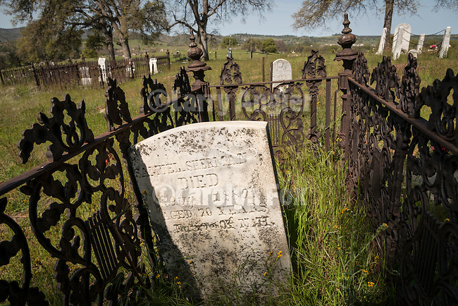 Historic 19th century Gold Rush era City Cemetery, Chinese Camp, Calif...Samual Sherman