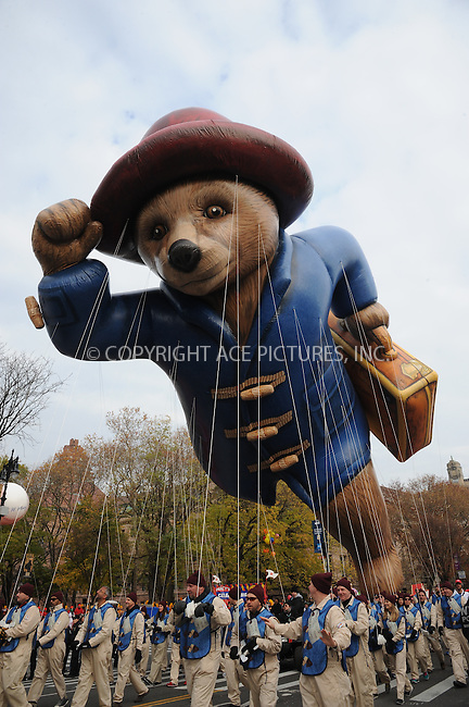 www.acepixs.com<br /> <br /> November 24 2016, New York City<br /> <br /> The Paddington Bear balloon at the 90th Annual Macy's Thanksgiving Day Parade on November 24, 2016 in New York City. <br /> <br /> By Line: Kristin Callahan/ACE Pictures<br /> <br /> <br /> ACE Pictures Inc<br /> Tel: 6467670430<br /> Email: info@acepixs.com<br /> www.acepixs.com