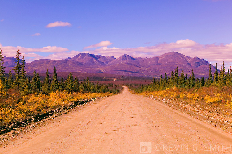 Denali Highway headed east outside of cantwell, fall, Alaska, USA.
