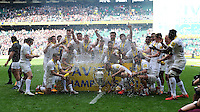 Saracens celebrate winning the Aviva Premiership Rugby Final between Bath Rugby and Saracens at Twickenham Stadium on Saturday 30th May 2015 (Photo by Rob Munro)