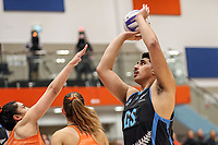 NZ Men's Junior Levi grabs the points during the Cadbury Netball Series match between NZ Men and All Stars at the Bruce Pullman Arena in Papakura, New Zealand on Friday, 28 June 2019. Photo: Dave Lintott / lintottphoto.co.nz