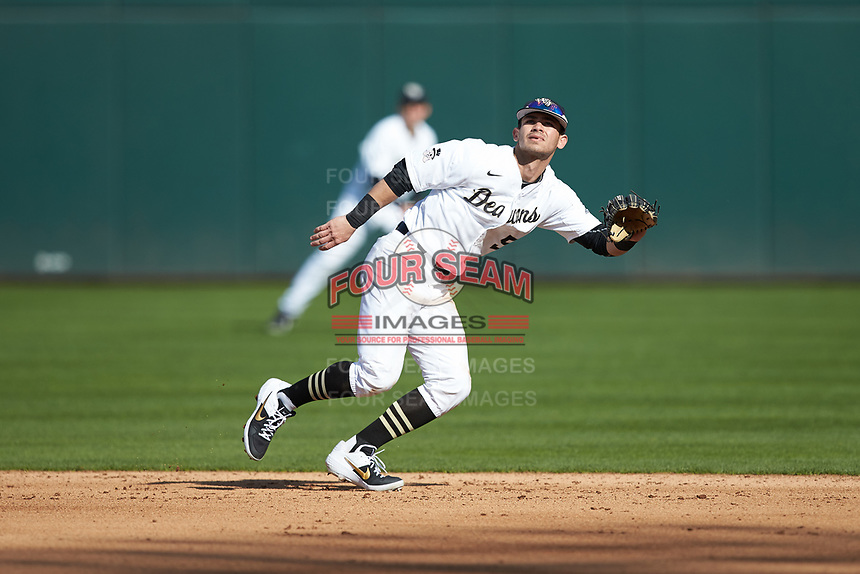 Wake Forest Demon Deacons second baseman Patrick Frick (5) on defense against the Furman Paladins at BB&T BallPark on March 2, 2019 in Charlotte, North Carolina. The Demon Deacons defeated the Paladins 13-7. (Brian Westerholt/Four Seam Images)