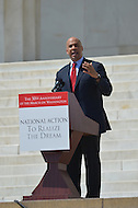 August 24, 2013  (Washington, DC)   Newark, New Jersey Mayor Corey Booker speaks to a crowd of thousands on the grounds of the Lincoln Memorial in the District of Columbia during the 50th anniversary of the 1963 March on Washington August 24, 2013.  (Photo by Don Baxter/Media Images International)