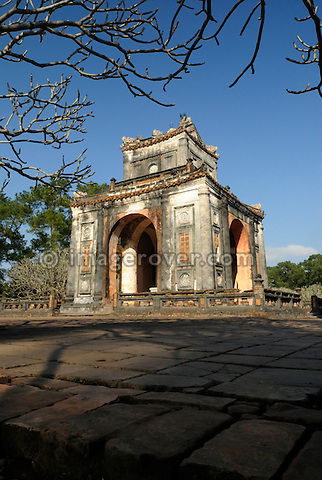 Asia, Vietnam, Hue. Pavillion at the royal tomb of Tu Duc. Designated a UNESCO World Heritage Site in 1993, Hue is honoured for its complex of historic monuments. Many of them are scattered across the scenic countryside to the south of Hue. Often considered to be the most elegant tomb in Vietnam, the mausoleum of Tu Duc (1848-1883) was designed by the king himself. Set on a pine-forested hill, it is flanked by lotus ponds and frangipani trees.