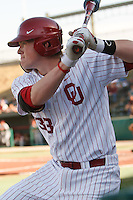 Cameron Seitzer (33) warms up in the on deck circle during the NCAA matchup between the University of Arkansas-Little Rock Trojans and the University of Oklahoma Sooners at L. Dale Mitchell Park in Norman, Oklahoma; March 11th, 2011.  Oklahoma won 11-3.  Photo by William Purnell/Four Seam Images