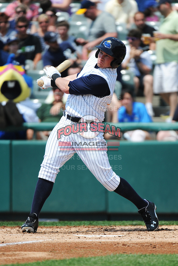 Trenton Thunder outfielder Slade Heathcott (11) hits a home run during game against the Erie SeaWolves at ARM & HAMMER Park on May 29 2013 in Trenton, NJ.  Trenton defeated Erie 3-1.  Tomasso DeRosa/Four Seam Images