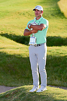 Brooks Koepka (USA) hugs the trophy for winning the 117th U.S. Open, at Erin Hills, Erin, Wisconsin. 6/18/2017.<br /> Picture: Golffile | Ken Murray<br /> <br /> <br /> All photo usage must carry mandatory copyright credit (&copy; Golffile | Ken Murray)