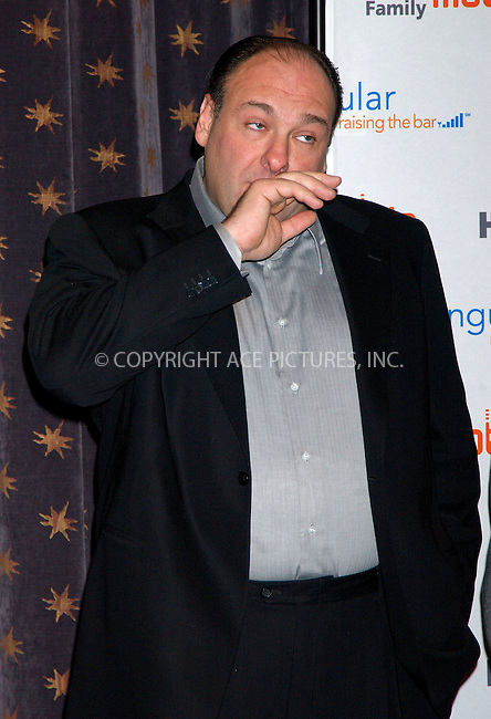 WWW.ACEPIXS.COM . . . . . ....NEW YORK, DECEMBER 15, 2005......James Gandolfini at the Cingular HBO Mobile Announcement held at the HBO Theater..... ..Please byline: KRISTIN CALLAHAN - ACEPIXS.COM.. . . . . . ..Ace Pictures, Inc:  ..Philip Vaughan (212) 243-8787 or (646) 679 0430..e-mail: info@acepixs.com..web: http://www.acepixs.com
