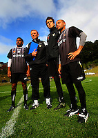 Phoenix coach Ricki Herbert (2nd left) with trialists (from left) Roy Krishna, Reece Crowther and Luis Corrales during the Wellington Phoenix A-League football training session Training Session at Newtown Park, Wellington, New Zealand on Monday, 4 May 2009. Photo: Dave Lintott / lintottphoto.co.nz