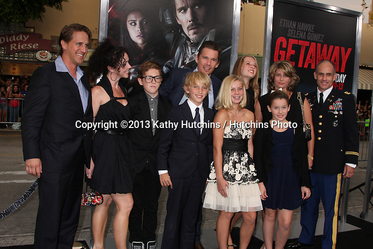 """LOS ANGELES - AUG 26:  Ethan Hawke, Family at the """"Getaway"""" Premiere at the Village Theater on August 26, 2013 in Westwood, CA"""