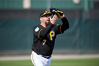 Pittsburgh Pirates Garth Brooks (7) catches a fly ball during the teams first Spring Training practice on February 18, 2019 at Pirate City in Bradenton, Florida.  (Mike Janes/Four Seam Images)