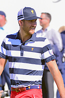 Kevin Chappell (USA) departs the first tee during round 4 Singles of the 2017 President's Cup, Liberty National Golf Club, Jersey City, New Jersey, USA. 10/1/2017. <br /> Picture: Golffile | Ken Murray<br /> <br /> All photo usage must carry mandatory copyright credit (&copy; Golffile | Ken Murray)
