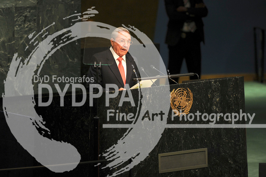 Cuban President Raul Castro addresses the 2015 Sustainable Development Summit, Saturday, Sept. 26, 2015 at United Nations headquarter