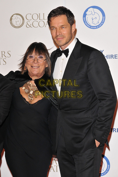 Hilary Alexander &amp; Paul Sculfor attend the Collars &amp; Coats Gala Ball 2015, Battersea Evolution, Battersea Park, London, England, UK, on Thursday 12 November 2015. <br /> CAP/CAN<br /> &copy;CAN/Capital Pictures