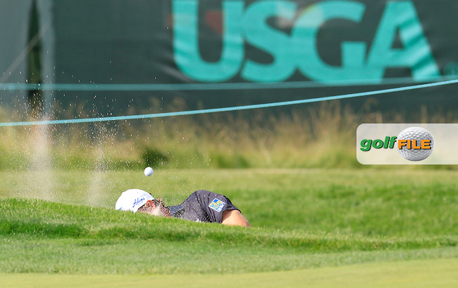 Ernie Els (RSA) in a bunker at the 18th green during Wednesday's Practice Day of the 2016 U.S. Open Championship held at Oakmont Country Club, Oakmont, Pittsburgh, Pennsylvania, United States of America. 15th June 2016.<br /> Picture: Eoin Clarke | Golffile<br /> <br /> <br /> All photos usage must carry mandatory copyright credit (&copy; Golffile | Eoin Clarke)