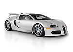 Silver Bugatti Veyron EB 16.4 Grand Sport 2012 mid-engined sports car German supercar isolated on white studio background with a clipping path Image © MaximImages, License at https://www.maximimages.com