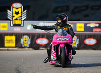 Oct 30, 2016; Las Vegas, NV, USA; NHRA pro stock motorcycle rider Jerry Savoie celebrates after winning the Toyota Nationals at The Strip at Las Vegas Motor Speedway. Mandatory Credit: Mark J. Rebilas-USA TODAY Sports